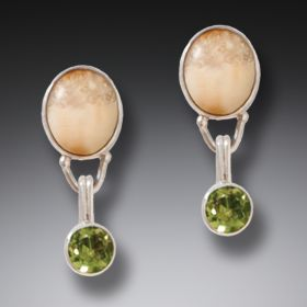 Ancient Mammoth Ivory Earrings with Peridot interchangeable components