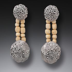 Mammoth Ivory Jewelry Bead Earrings, Handmade Silver - String Theory II