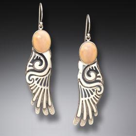 Fossilized Walrus Ivory Silver Wings Earrings, Handmade - Wings