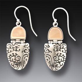 Fossilized Walrus Tusk Ivory Ocean Earrings, Handmade Silver - Sea Breeze