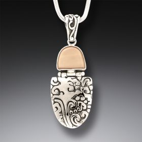 Fossilized Walrus Tusk Ivory Ocean Pendant Necklace, Handmade Silver - Sea Breeze