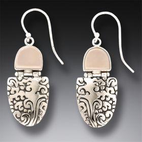 Mammoth Ivory Tusk Ocean Earrings, Handmade Silver - Sea Breeze