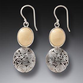 Mammoth Ivory Tusk Ocean Earrings in Handmade Silver - Ocean Currents