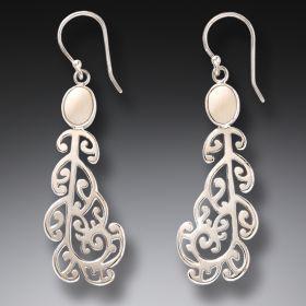 Ancient Mammoth Ivory and Silver Koru Earrings - Moondance