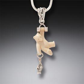 Zealandia fossilized ivory bear pendant