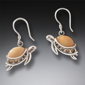 Fossilized Walrus Ivory and Silver Turtle Earrings – Turtle Hatchlings