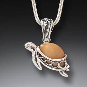 Fossilized Walrus Ivory and Silver Turtle Pendant - Turtle Hatchlings
