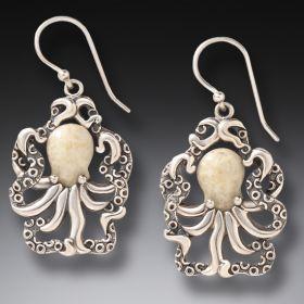 Fossilized Walrus Octopus Earrings - Octopus Earrings
