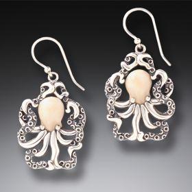 Fossilized Mammoth ivory Octopus Earrings - Octopus Earrings