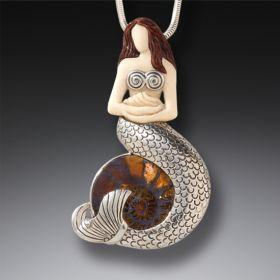 Fossilized Mammoth Ivory Mermaid Pendant - Mermaid With Ammonite