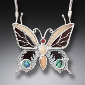 Jeweled Butterfly Necklace Silver Paua Jewelry with Black Mussel, Fossilized Ivory (includes chain) - Transition