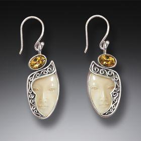 Mammoth Ivory Goddess Citrine Drop Earrings, Handmade Silver - Enigma