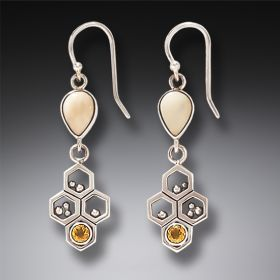 Fossilized Walrus Ivory and Silver Bee Earrings – Honeycomb