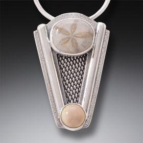 Mammoth Ivory Tusk Fossil Sand Dollar Necklace, Handmade - Silver Sand Dollar