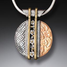 Handmade Silver Motif Necklace with Mammoth Tusk Ivory - Tsuba