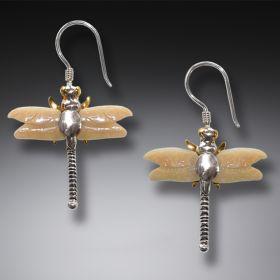 Fossilized Walrus Dragonfly Earrings