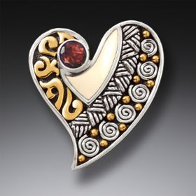 Mammoth Ivory Tusk Silver Heart Pin or Pendant with Garnet - Heart