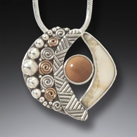 Fossilized Walrus Ivory Handmade Silver Abstract Pendant with 14kt Gold Fill - Abstract