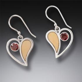 Handmade Silver Fossilized Walrus Ivory Earrings with Garnet - Heart Song