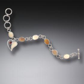 Ancient Ivory Silver Heart Charm Bracelet with Garnet, Handmade - Heart Song