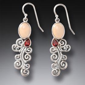 Handmade Silver Mammoth Ivory Earrings with Garnet - Heart Song II