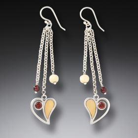 Fossilized Walrus Ivory Earrings with Garnet, Handmade Silver - Heart Song Dangles