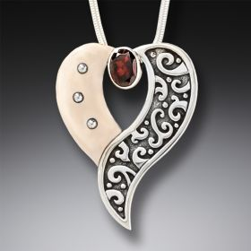 Mammoth Jewelry Heart Necklace in Handmade Silver and Garnet - Heart's Desire