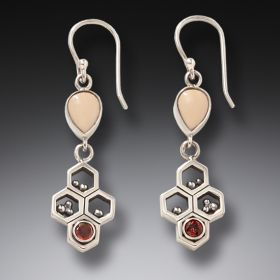 Red Garnet and Ancient Mammoth Ivory Earrings – Honeycomb