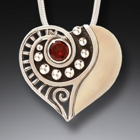 Fossilized Ivory, Garnet, and Silver Heart Pendant – Tender