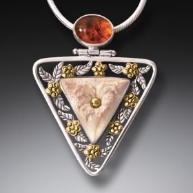 Mammoth Ivory Jewelry Flower Necklace, 14kt Gold Fill and Amber - Flower Triangle