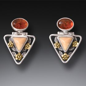 Mammoth Ancient Ivory Amber Triangle Earrings, 14kt Gold Fill and Handmade Silver - Flower Triangle