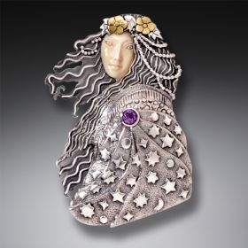 Fossilized Walrus Ivory Pin or Pendant, Handmade Silver,14kt Gold Fill, and Amethyst - Wise Woman