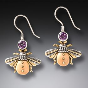 Fossilized Mammoth Ivory Amethyst Bee Earrings - Amethyst Bees