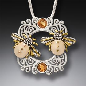 Fossilized Walrus Ivory and Silver Pendant - Sun Kissed Bees