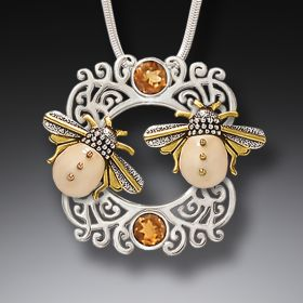 Fossilized Mammoth Ivory and Silver Pendant - Sun Kissed Bees
