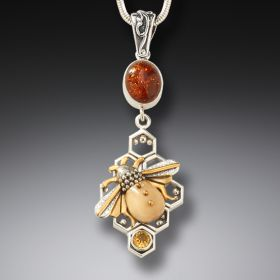 Fossilized mammoth ivory honeycomb bee pendant - Honeycomb Bees