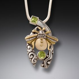 Fossilized Walrus Tusk Bee Necklace Silver and Peridot - Bee with Peridot