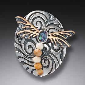 Silver Dragonfly Pendant/Pin Paua Jewelry with Mammoth Ivory - Winged Currents