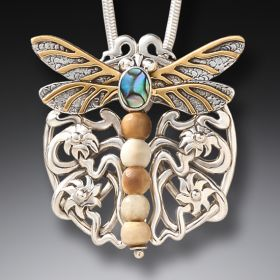 Fossilized Walrus Ivory Dragonfly Pendant - Nouveau Dragonfly
