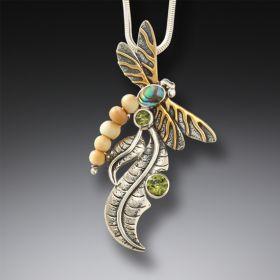 Fossilized mammoth ivory dragonfly pendant - Iridescence