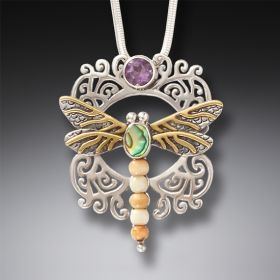 Ancient Walrus Ivory Dragonfly and Amethyst Pendant - Garden Visitor