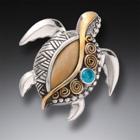 Silver Sea Turtle Pin or Pendant with Fossilized Walrus Tusk Ivory, Blue Topaz, and 14kt Gold Fill - Jeweled Turtle