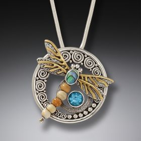 Paua Jewelry Handmade Silver Dragonfly Pendant Necklace with Walrus Ivory - Wings of Gold