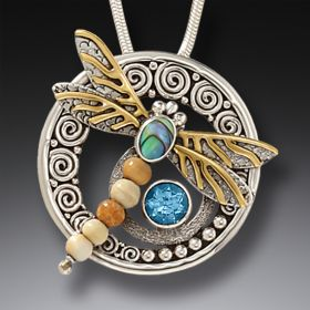 Paua Jewelry Handmade Silver Dragonfly Pendant Necklace with Mammoth Ivory - Wings of Gold