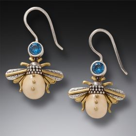 14kt Gold Fill Blue Topaz Fossilized Ivory Silver Bee Earrings, Handmade – Bees