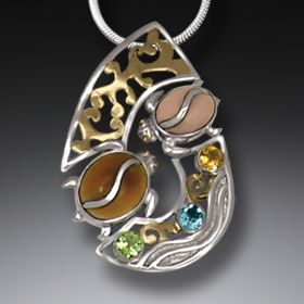 Fossilized Walrus Tusk Silver Turtle Pendant with Peridot, Blue Topaz, and 14kt Gold Fill - Two Turtles