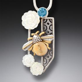 Ancient Walrus Ivory Bee and White Rose Pendant - Rose Garden