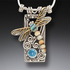 Silver Dragonfly Pendant Paua Jewelry with Fossilized Walrus Ivory, Blue Topaz, and 14kt Gold Fill - Dragonfly
