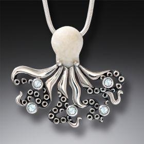 Fossilized Walrus Ivory and Rainbow Moonstone Silver Octopus Pendant - Deep Secrets