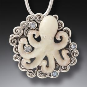 Fossilized Mammoth Ivory Octopus Pendant - Beneath The Waves